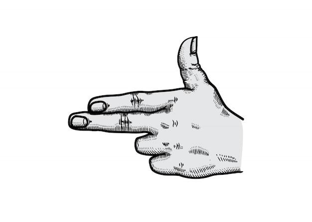 Gun symbol with fingers