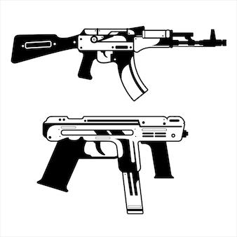 Пистолет томпсон и shootgin дизайн упаковки черно-белый