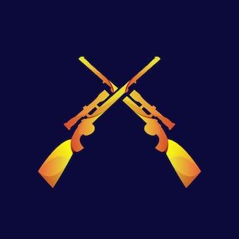 Gun vintage logo gradient gold