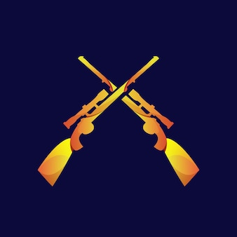 Gun vintage logo gradient gold Premium Vector