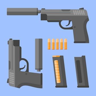 소음기, 잡지 및 파란색 배경에 카트리지 총. 플랫 스타일의 자동 권총.