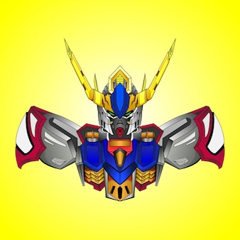 Gundam basic costum robotic design with modern illustration concept style for budge emblem