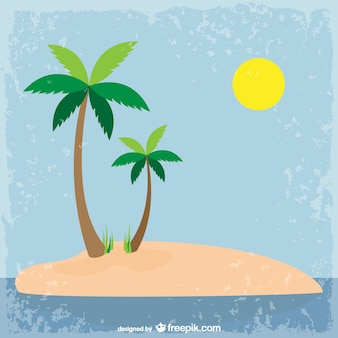 Gunge island background with palm trees