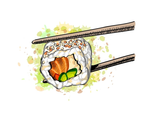 Gunkan sushi with salmon and cucumber from a splash of watercolor, hand drawn sketch.  illustration of paints