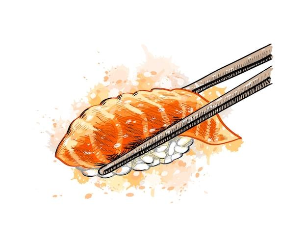 水彩のスプラッシュからサーモンと軍艦寿司、手描きのスケッチ。塗料のイラスト