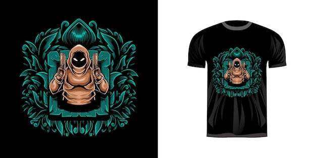 티셔츠 디자인을위한 포수 그림