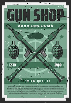 Guns ammo shop, military artillery equipment