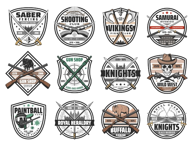 Guns, battle weapon and hunting ammo vector icons