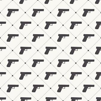 흰색 바탕에 총 패턴 패턴입니다. 창의적이고 군사적인 스타일의 일러스트레이션