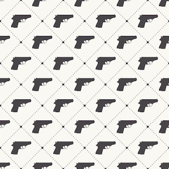 Guns pattern pattern on white background. creative and military style illustration