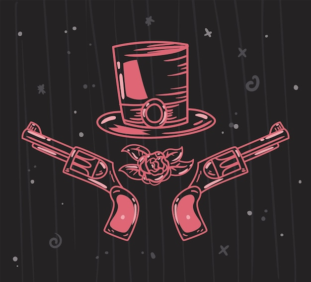 Пистолеты в шляпе каракули