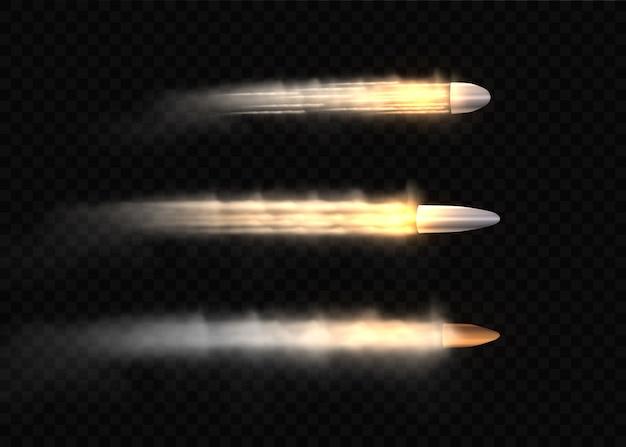 銃声、弾丸の動き、軍の煙の跡。動きのリアルな飛行弾。透明な背景に分離された煙跡。拳銃のシュートトレイル。