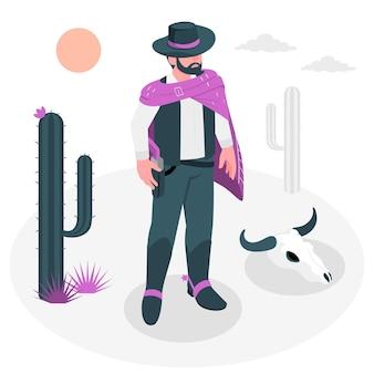 Illustrazione del concetto di pistolero