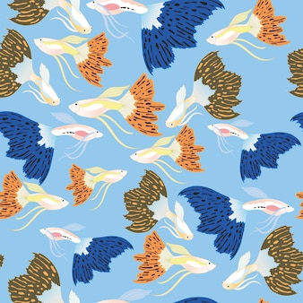 Guppy fish seamless pattern