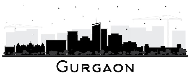 Gurgaon india city skyline silhouette with black buildings isolated on white. vector illustration. business travel and tourism concept with modern architecture. gurgaon cityscape with landmarks.