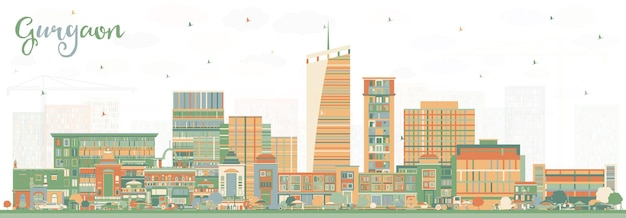 Gurgaon india city skyline with color buildings. vector illustration. business travel and tourism concept with modern architecture. gurgaon cityscape with landmarks.