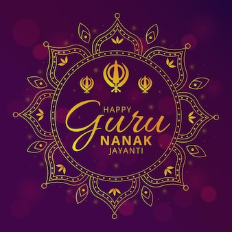 Guru nanak jayanti illustration with mandala