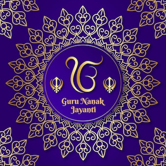 Guru nanak jayanti realistic background with mandala
