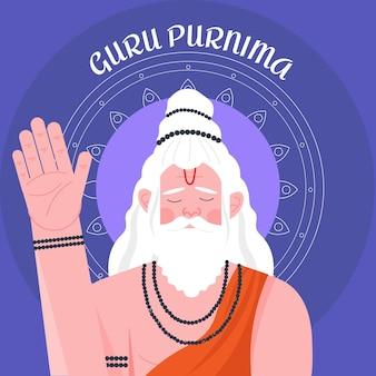 Guru purnima celebrazione illustrazione