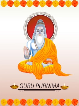 Guru purnima illustration and background
