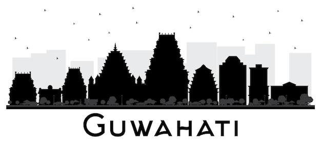 Guwahati 인도 도시 스카이 라인 흑백 실루엣입니다. 벡터 일러스트 레이 션. 관광 프레 젠 테이 션, 플래 카드에 대 한 간단한 평면 개념입니다. 비즈니스 여행 개념입니다. 랜드마크가 있는 구와하티 도시 풍경.