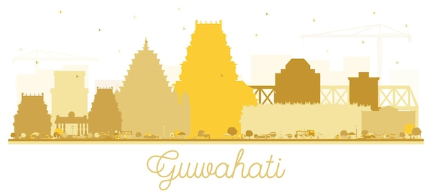 황금 건물 guwahati 인도 도시 스카이 라인 실루엣입니다. 벡터 일러스트 레이 션. 역사적인 건축과 비즈니스 여행 및 관광 개념입니다. 랜드마크가 있는 구와하티 도시 풍경.