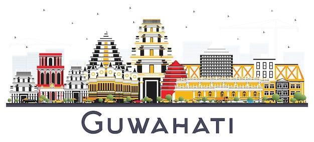 흰색 배경에 고립 된 색상 건물 guwahati 인도 도시의 스카이 라인. 벡터 일러스트 레이 션. 역사적인 건축과 비즈니스 여행 및 관광 개념입니다. 랜드마크가 있는 구와하티 도시 풍경.
