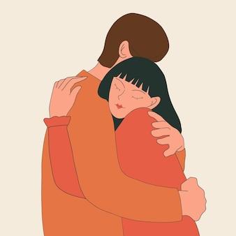 男と少女は漫画のフラットスタイルのイラストを抱き締めます