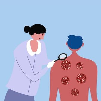 検査を受けている男乾癬湿疹皮膚病