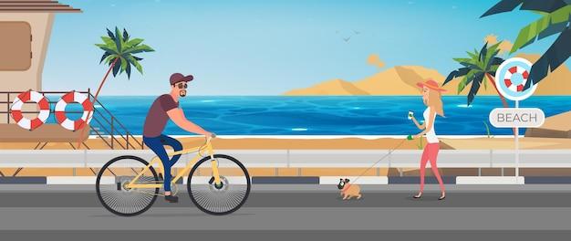 Guy in bicycle helmet on bike