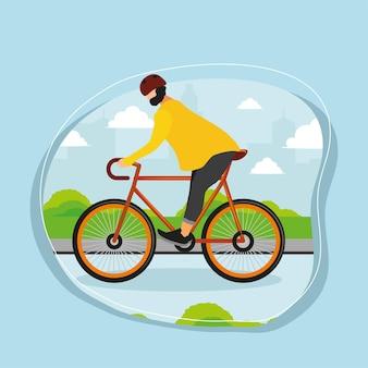 Guy on bike car free day