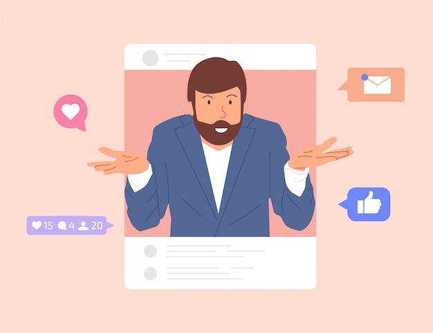 가이는 소셜 네트워크를 탐색합니다. 게시물을 작성하고 팔로워들과 행복한 순간을 공유하는 남자. 소셜 미디어의 영향과 중독. 평면 만화 스타일의 그림입니다.