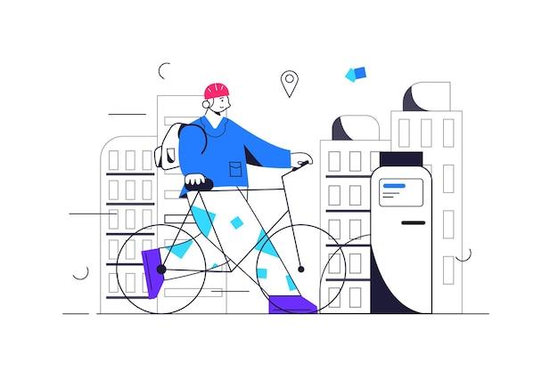 가이는 자전거를 유료 렌탈 주차장에, 헬멧을 쓰고 배낭을 든 남자