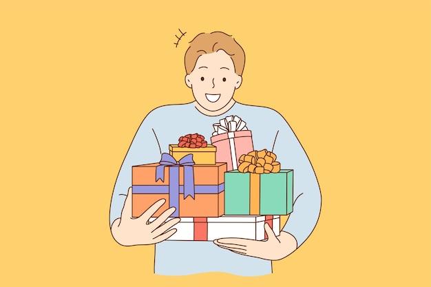 Парень мультипликационный персонаж держит много подарков