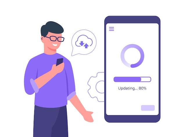 男のキャラクターは、フラットな漫画のスタイルでクラウドに接続されたスマートフォンの更新プロセスのモバイルアプリを保持している眼鏡をかけます。