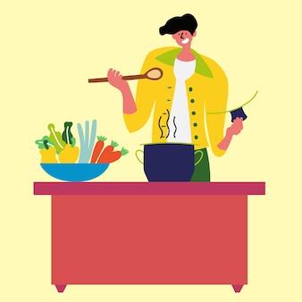 남자는 건강한 식사 냄비 부엌을 요리