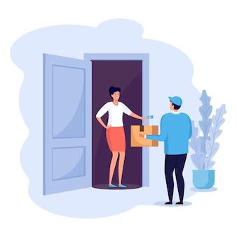 Guy는 집으로 소포를 배달합니다. 빠른 배송 서비스. 여자는 택배에서 주문 판지 상자를받습니다. 특급 배송. vectoor 만화 디자인