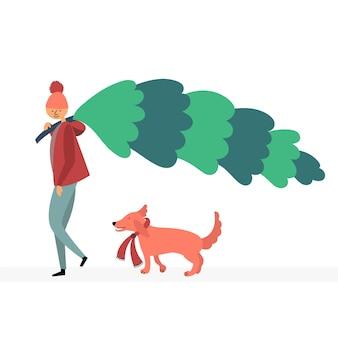 Guy dog bought christmas tree buying wood market bazaar christmas sale walk pet