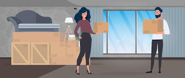 The guy and the girl are holding paper boxes in their hands. large boxes, sofa. the concept of moving, changing housing, buying an apartment or moving an office. vector.