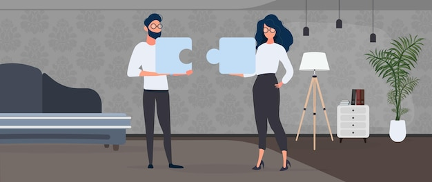 The guy and the girl are holding puzzle pieces. the woman and the man are putting together a puzzle. office. the concept of teamwork, living together or understanding. vector.