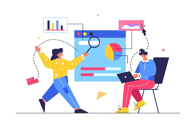 A guy and a girl are keeping statistics on a large virtual screen, a girl with a magnifying glass, a guy behind a laptop isolated on a white background, flat  illustration