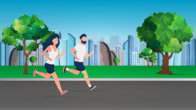 A guy and a girl are running around the park. morning run. the concept of sport and healthy lifestyle. vector.