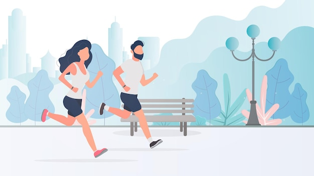 A guy and a girl are running around the park. morning run. the concept of sport and healthy lifestyle.