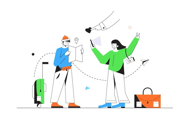The guy and the girl are tourists, the guy is looking for a route on the map, the girl takes pictures of herself on the phone, suitcase and bag isolated on a white background, flat  illustration