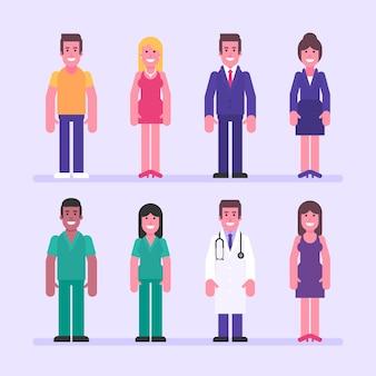 Гай девушка бизнесмен бизнесмен медсестра доктор. набор символов. векторные иллюстрации