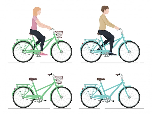 Guy and girl riding a bike, characters and bicycles in cartoon style, side view, active lifestyle, sports people,