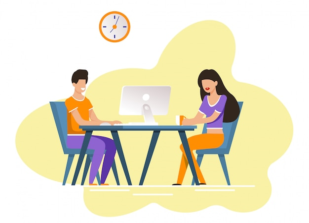 Guy and girl sit at table with computer and coffee