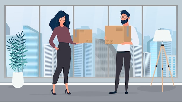 A guy and a girl stand in an empty room and hold paper boxes. the concept of relocating, changing housing, buying an apartment or moving an office. vector.