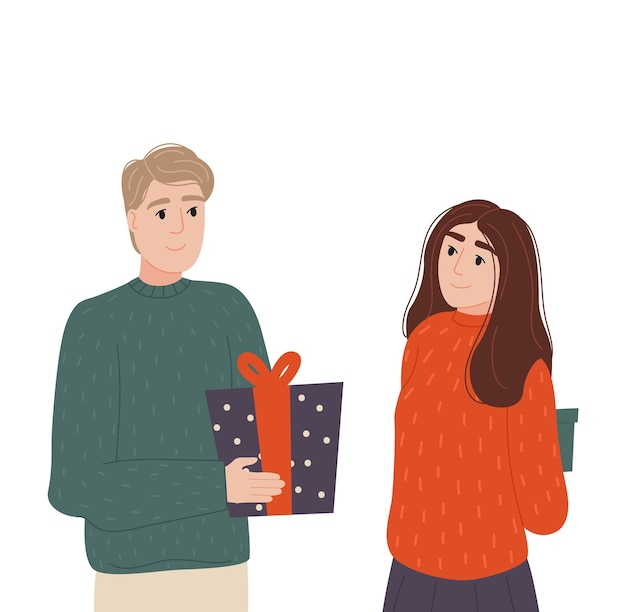 The guy gives the girl a gift