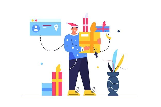 休日に人々に贈り物をする男、段ボールの紙箱、帽子をかぶった男